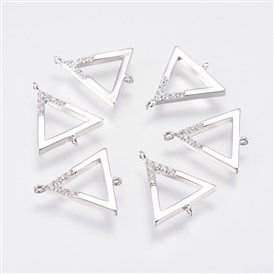 Brass Micro Pave Cubic Zirconia Links, Triangle