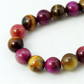 Natural Rose Tiger Eye and Yellow Tiger Eye Beads Strands, Dyed, Round