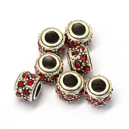 Alloy Glass Rhinestone European Beads, Large Hole Beads, Column, Antique Silver-1