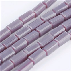 "Lavender Opaque Glass Beads Strands, Faceted, Cuboid, Lavender, 6.5~7x3~3.5x3~3.5mm, Hole: 0.5mm; about 80pcs/strand, 20.6~22""(52.5~56cm)"