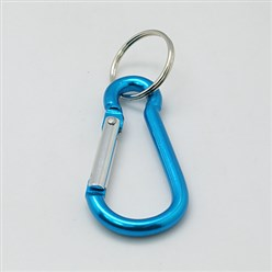 SkyBlue Aluminum Oval Carabiner Keychain, with Iron Clasps, SkyBlue, 60.5x29mm