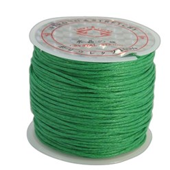 Green Cotton Waxed Cord, Green, 1mm; about 25m/roll