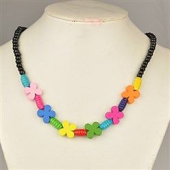Black Colorful Wood Necklaces for Kids, Children's Day Gifts, Stretchy, Black, 18 inches