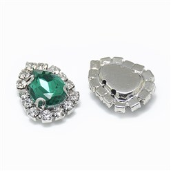 Emerald Sew on Rhinestone, Glass Rhinestone, with Platinum Tone Brass Prong Settings, Garments Accessories, Drop, Emerald, 14.5x11x5mm, Hole: 0.8mm