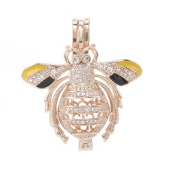 Rose Gold Alloy Enamel Diffuser Locket Pendants, with Micro Pave Cubic Zirconia, Cage Pendants, Bees, Clear, Rose Gold, 35x31x12mm, Hole: 3x6mm; Inner Measure: 20.5x10mm