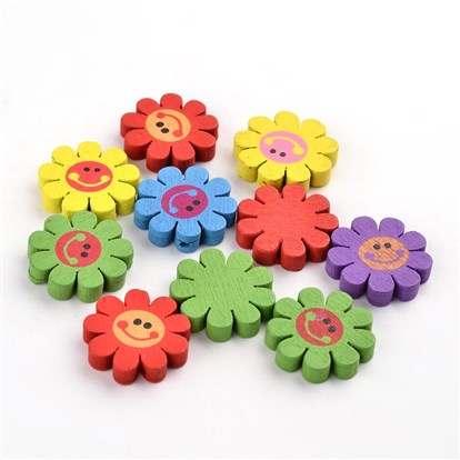 Printed Wood Beads, Children's Day Gift Ideas, Dyed, Lovely Flower Beads, Lead Free, Sunflower, 23x4mm, Hole: 2mm-1