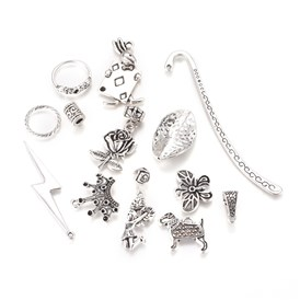 Zinc Alloy Economy Mixed Charm Pendants, Beads or Links, Antique Silver, Lead Free, Mixed Shape and Size, 3~100x3~60x1~15mm, Hole: 1mm; about 80~200pcs/1000g