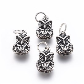 Thai Sterling Silver Charms, with Jump Rings, Owl