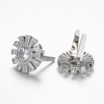 Brass Shoes Buckle Clips, with Cubic Zirconia, Flower-1