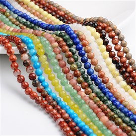 Round Natural & Synthetic Mixed Gemstone Bead Strands