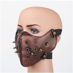Brown Punk Rock Style PU Leather Masks, with Alloy Findings, Brown, 245x145mm