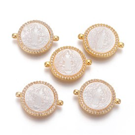 Brass Micro Pave Cubic Zirconia Links/Connectors, with Shell and Jump Ring, Flat Round with Saint Benedict