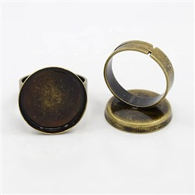 Adjustable Brass Ring Mountings and Settings, Round, 25mm