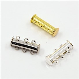 3-strands Brass Magnetic Slide Lock Clasps, 6-Holes, 20x10mm, Hole: 2mm