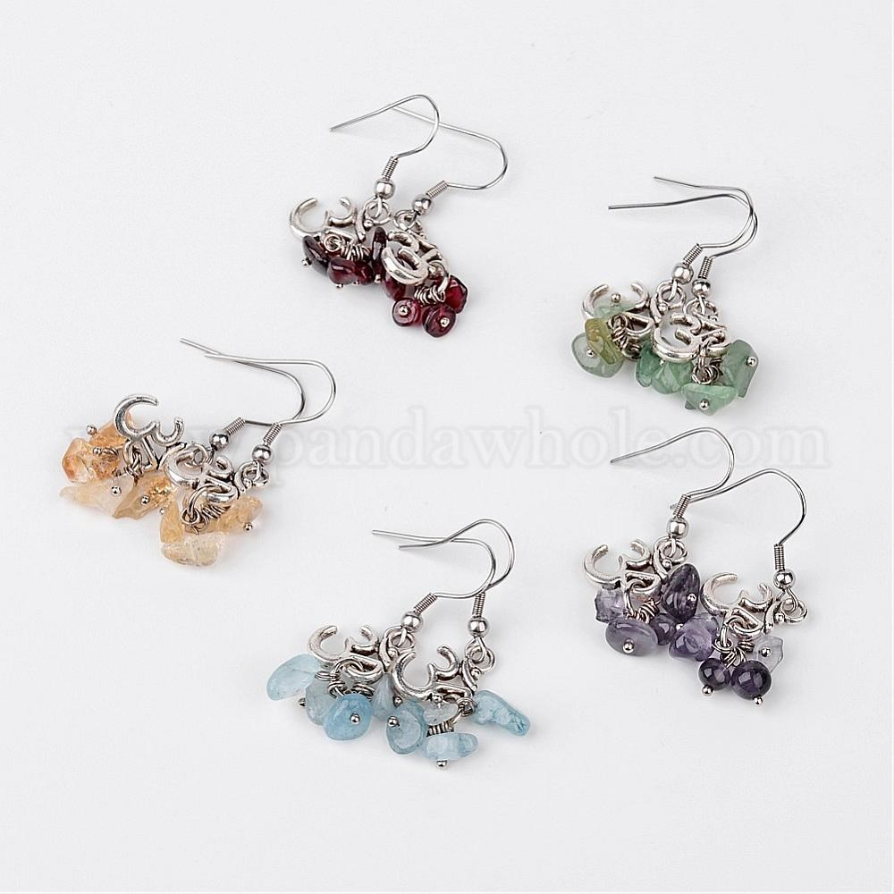 CLIP ON EARRINGS SILVER MIXED METAL 40 mm