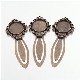Tibetan Style Bookmark Cabochon Settings, Cadmium Free & Lead Free, Tray: 20mm; 81x31x4mm