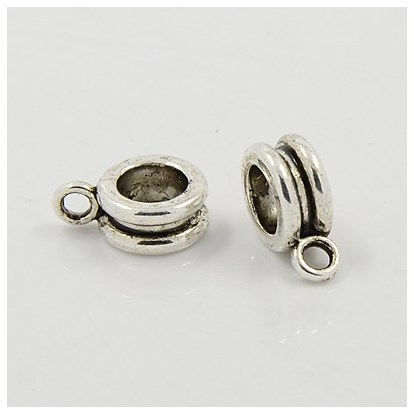 Alloy European Beads, Lead Free, 12x8x4mm, Hole: 5mm-1