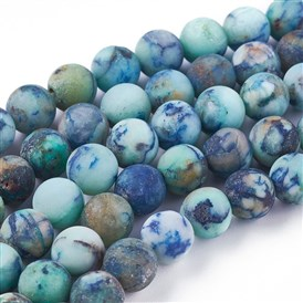 Natural Chrysocolla Beads Strands, Frosted, Round