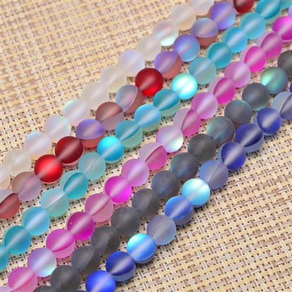 Synthetical Moonstone Beads Strands, Frosted, Dyed, Round