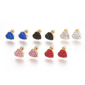 304 Stainless Steel Ear Fake Plugs, Ear Studs, with Polymer Clay Rhinestone, Heart