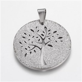 Trendy Flat Round with Tree Necklace Findings 304 Stainless Steel Textured Pendants, 35x36x2mm, Hole: 8x6mm