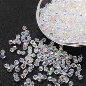 Imitation Crystallized Glass Beads, AB Color, Faceted, Bicone, Sold By Bag