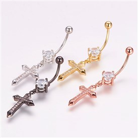 Piercing Jewelry, Brass Micro Pave Cubic Zirconia Belly Rings, with 304 Stainless Steel Pins, Eye