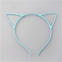 LightSkyBlue Hair Accessories Iron Hair Band Findings, with Polyester Ribbon, Cat, LightSkyBlue, 113~124mm
