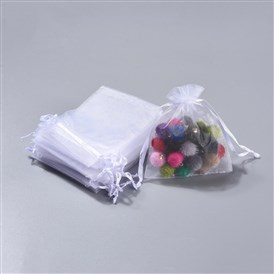 Organza Gift Bags, Jewelry Mesh Pouches for Wedding Party Christmas Gifts Candy Bags, with Drawstring, Rectangle