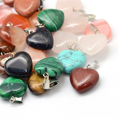 Heart Gemstone Pendants, with Platinum Tone Brass Findings, 17~19x15~16x5~6mm, Hole: 2x7mm-1