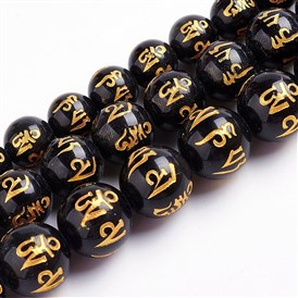 Natural Obsidian Beads Strands, Round Carved Om Mani Padme Hum