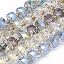 Electroplate Glass Beads Strands, Rainbow Plated, Faceted, Flat Round