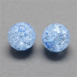 CornflowerBlue Transparent Crackle Acrylic Beads, Round, CornflowerBlue, 8mm, Hole: 2mm; about 1890pcs/500g