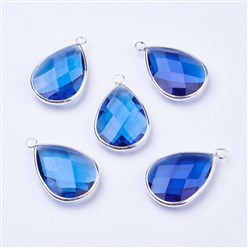 DodgerBlue Silver Tone Brass Glass Drop Pendants, Faceted, DodgerBlue, 18x10x5mm, Hole: 2mm