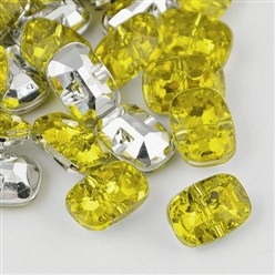 LightYellow Taiwan Acrylic Rhinestone Buttons, Faceted, 1-Hole, Rectangle, LightYellow, 30x21x10.5mm, Hole: 2mm