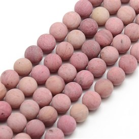 Frosted Natural Rhodochrosite Round Bead Strands