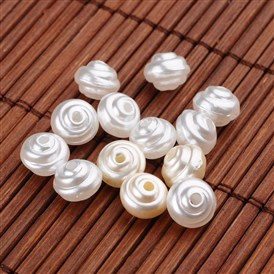 Spiral Imitation Pearl Acrylic Beads, 8x6mm, Hole: 1mm; about 2340pcs/500g