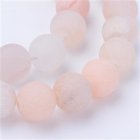 Natural Pink Aventurine Beads Strands, Frosted, Round
