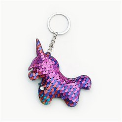 Colorful Key Chains, with Plastic Paillette Beads, Iron Key Ring and Chain, Unicorn, Platinum, Colorful, 135mm; Pendant: 95x79x11mm