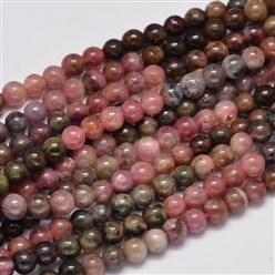 Tourmaline Round Natural Tourmaline Beads Strands, Grade AB+, 5mm, Hole: 1mm; about 73pcs/strand, 15.7""