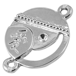 Platinum Tibetan Style Alloy Charm Enamel Settings, Heart Carved Word My Dog, Lead Free, Platinum, 13x10x3mm, Hole: 2mm; about 980pcs/1000g