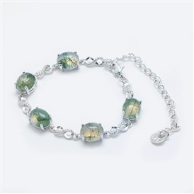 Natural Gemstone Link Chain Bracelets, with Brass Findings, Real Platinum Plated, Oval and Infinity