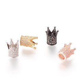Brass Micro Pave Cubic Zirconia Beads, Crown