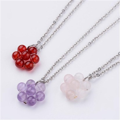 Natural Gemstone Pendant Necklaces, Flower, with 316 Stainless Steel Cross Chains-1