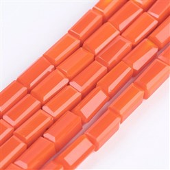"OrangeRed Opaque Glass Beads Strands, Faceted, Cuboid, OrangeRed, 6.5~7x3~3.5x3~3.5mm, Hole: 0.5mm; about 80pcs/strand, 20.6~22""(52.5~56cm)"