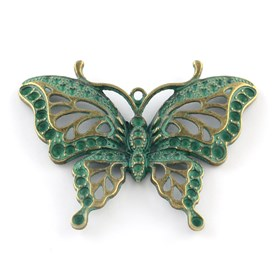 Zinc Alloy Butterfly Pendants Rhienstone Settings, Lead Free, Fit for 1.5~2.5mm rhinestone; 48x62x6mm, Hole: 2mm