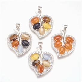 Natural & Synthetic Gemstone Pendants, with Cubic Zirconia and Platinum Tone Brass Findings, Leaf
