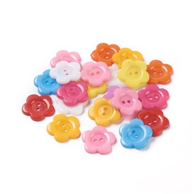 Acrylic Sewing Buttons for Costume Design, Plastic Buttons, 2-Hole, Dyed, Flower Wintersweet