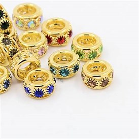 Brass Rhinestone European Beads, Large Hole Beads, Grade A, Rondelle, Golden Metal Color, 10x5~6mm, Hole: 5mm