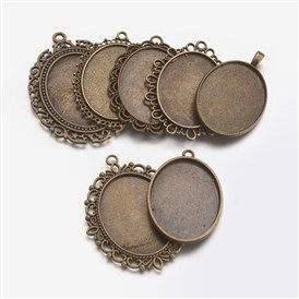 Mixed Shapes Alloy Pendant Cabochon Settings, Oval Tray: 40x30mm; 51~61x33~47x2mm, Hole: 2~4mm